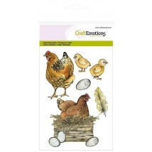 Craftemotions Clearstamps A6 - Chicken with chicks