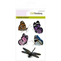 Craftemotions Clearstamps A6 - Butterflies and Dragonfly