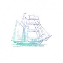 Couture Creations Men's Collection Hatched Tallship Mini Clear Stamp