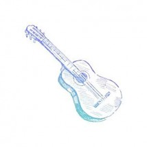 Couture Creations Men's Collection Hatched Guitar Mini Clear Stamp