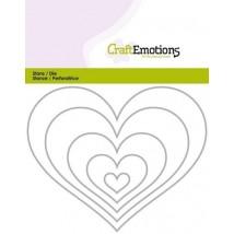 CraftEmotions Stanzschablone - Herzen Rahmen
