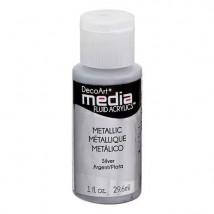 DecoArt Media Fluid Acrylics Paint Flüssige Acrylfarbe 1oz - Metallic Silver
