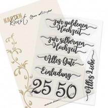 Karten-Kunst Clear Stamp Set - Zur silbernen und goldenen Hochzeit