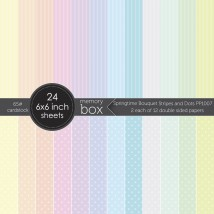 Memory Box Paper Pack 6 x 6 - Springtime Bouquet Stripes and Dots