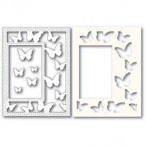 Poppy Stamps Stanzschablone - Beautiful Butterflies Sidekick Frame and Stencil