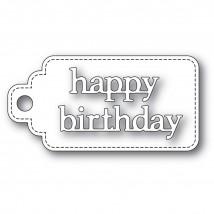 Poppy Stamps Stanzschablone - Happy Birthday Stitched Tag