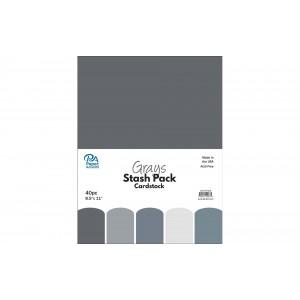 Paper Accents Cardstock Stash Pack 40 Blatt - Grays