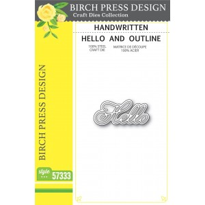 Birch Press Stanzschablone - Handwritten Hello and Outline