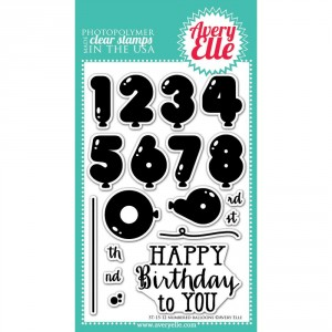 Avery Elle Clear Stamps - Numbered Balloons