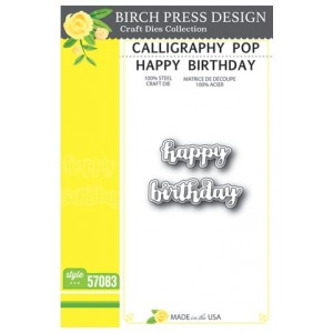 Birch Press Stanzschablone - Calligraphy Pop Happy Birthday