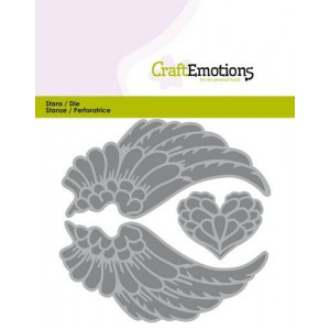 CraftEmotions Stanzschablone - Engels-Flügel und Herz