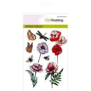 CraftEmotions Clear Stamps - Mohnblumen und Insekten