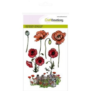 CraftEmotions Clear Stamps - Mohnblumen