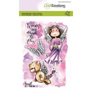 CraftEmotions clearstamps A6 - Angel & Bear 1 - 30% RABATT
