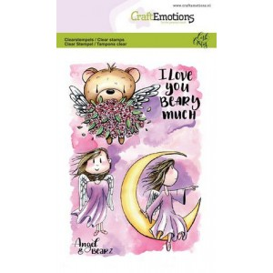 CraftEmotions clearstamps A6 - Angel & Bear 2 - 35% RABATT