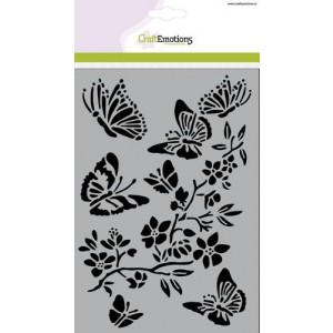 CraftEmotions Stencil A5 - Butterflies with Blossombranch