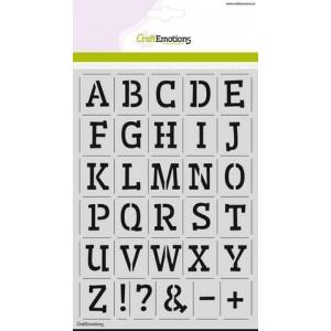 CraftEmotions Stencil A5 - Alphabet Serif DIN A5