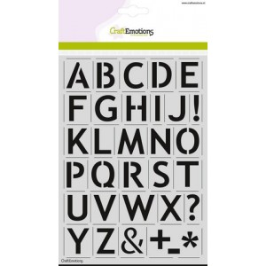 CraftEmotions Stencil A5 - Alphabet Sans-Serif DIN A5 - 20% RABATT