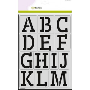CraftEmotions Stencil groß - Alphabet Serif DIN A4
