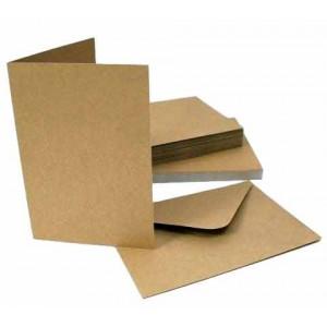 Craft UK Cardpack DIN A6 50 Karten und Umschläge - Kraft-Braun