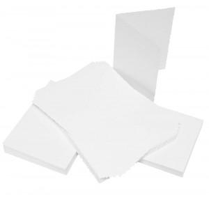 Craft UK Cardpack 50 Karten und Umschläge Weiß mit Büttenrand - A6 / C6