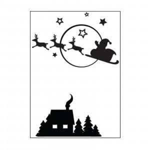 Darice Hintergrund-Prägeschablone - Santa Flying Sleigh