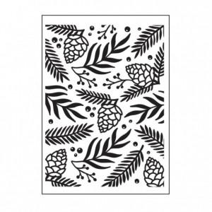 Darice Hintergrund-Prägeschablone - Green Sprigs & Berries