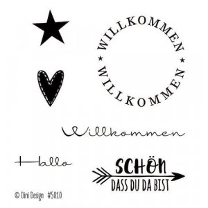 Dini Designs Mini Clear Stamps - Willkommen