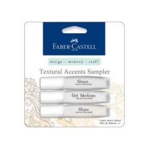 Faber Castell Mix & Match Textural Accents Mediums Sampler Set bestehend aus Gesso, Gel Medium und Glaze, je 6 ml.