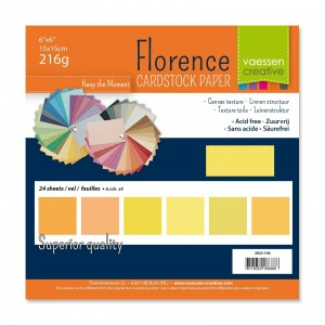 Florence Leinenkarton Multipack 15 x 15 cm 60 Blatt - Gelb
