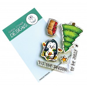 Gerda Steiner Design Clear Stamps - Tangled Penguin 3x4