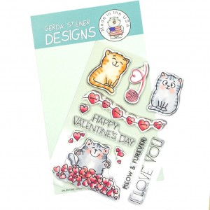 Gerda Steiner Design Clear Stamps - Valentine Cats 4x6