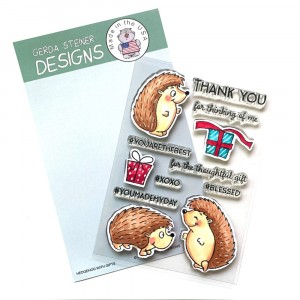 Gerda Steiner Design Clear Stamps - Hedgehog with Gifts 4x6