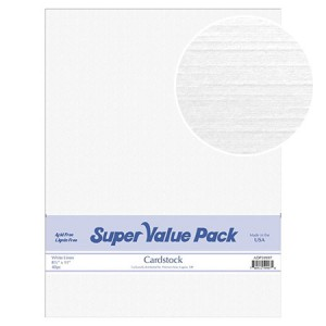 Paper Accents Cardstock Super Value Pack White Linen 40 Blatt