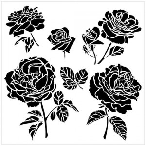 "Crafter\'s Workshop Template 6""X6\"" - Cabbage Roses"