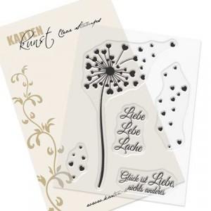 Karten-Kunst Clear Stamp Set - Herz-Pusteblume