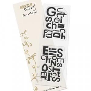Karten-Kunst Clear Stamp Set - Buchstabenblöcke Ostern / Gutschein