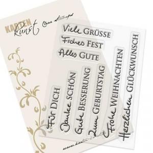 Karten-Kunst Clear Stamp Set - Kombi-Set Grüße 2