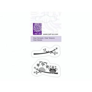 cArt-Us Mini-Stempel - Eulen auf Zweig
