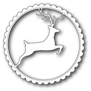 Memory Box Stanzschablone - Reindeer Scalloped Circle Frame