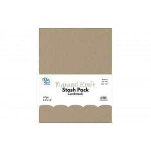 Paper Accents Stash Pack Cardstock 40 Blatt - Natural Kraft