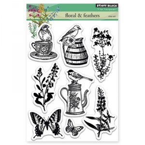 Penny Black Clear Stamps - Floral & Feathers
