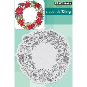 Penny Black Cling Stamps - Poinsettia Wreath