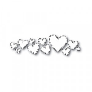 Poppy Stamps Stanzschablone - Splendid Stitched Hearts