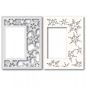 Poppy Stamps Stanzschablone + Stencil - Pinpoint Snowflake Sidekick Frame