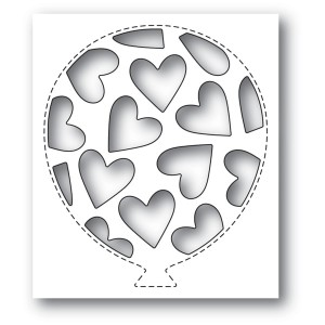 Poppy Stamps Stanzschablone - Tumbled Heart Balloon Collage