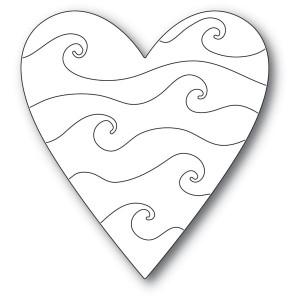 Poppy Stamps Stanzschablone - Wavy Heart - 25% RABATT