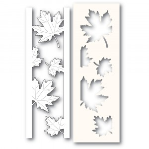 Poppy Stamps Stanzschablone - Maple Leaf Side Strips and Stencil