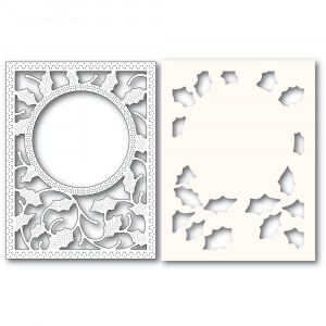 Poppy Stamps Stanzschablone - Holly Frame and Stencil  - 20% RABATT