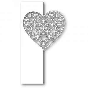 Poppy Stamps Stanzschablone - Floral Lace Heart Split Border